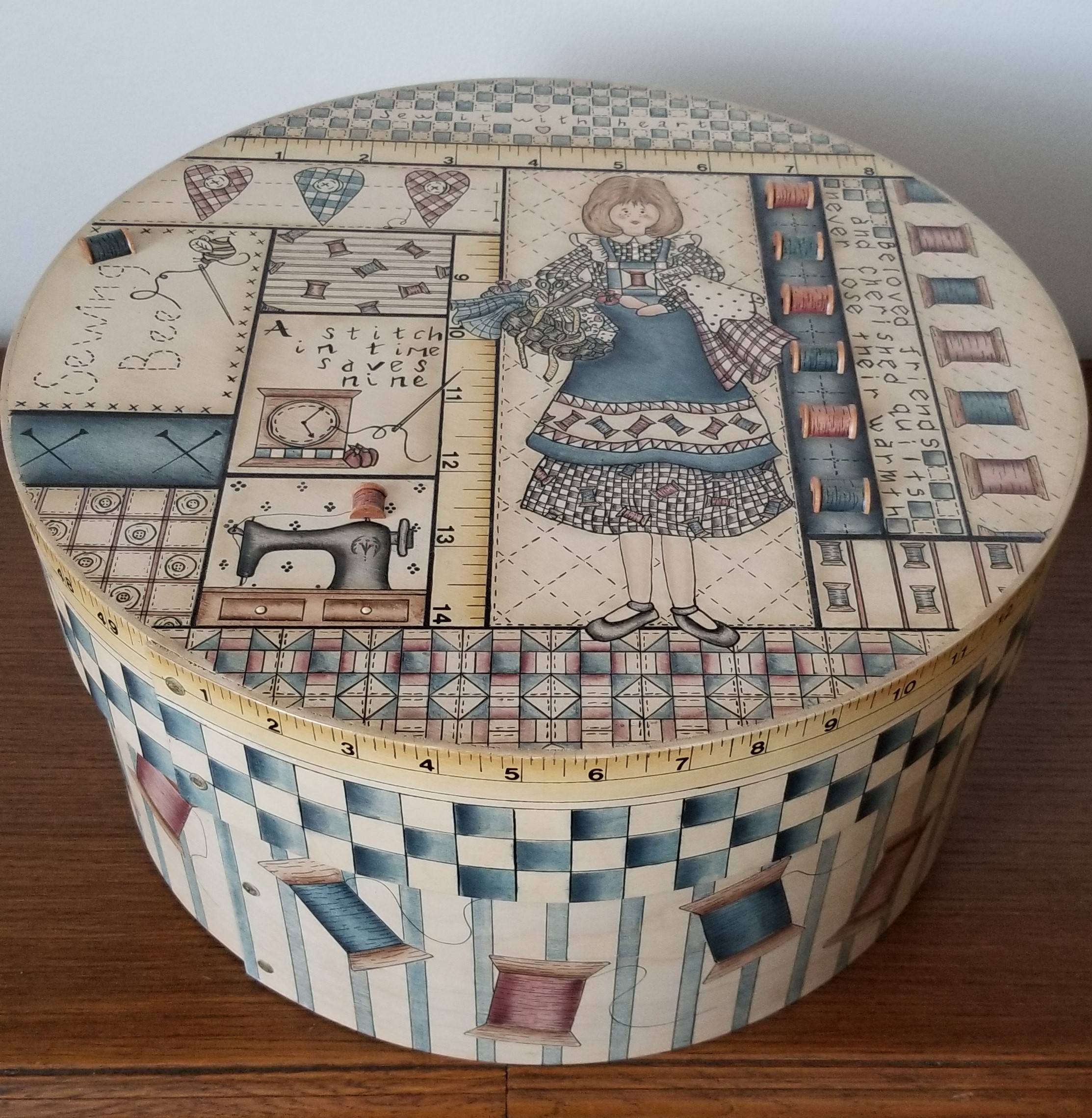 sewing box acrylic and ink on wood